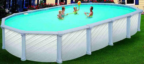 Piscine hors sol ovale sans jambe de force for Piscine zyke