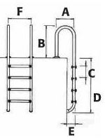 Une chelle de bain droite inox de 2 marches piscine Echelle salle de bain inox