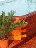 Piscine en bois exotique octogonale