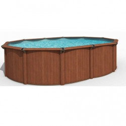kit piscine VOGUE aspect bois ovale 4.88 x 3.21 x 1.22 m
