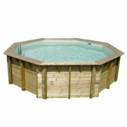 Un kit piscine en pin sylvestre octogonal de 6.36x1.31