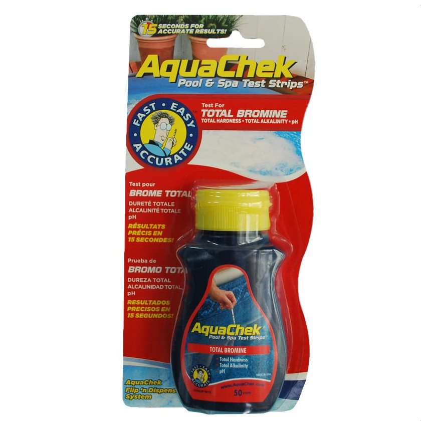 Aquachek red bandelette est un lot de 50 bandelettes de test for Testeur eau de piscine