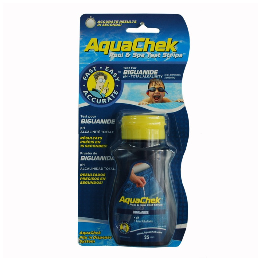 Aquachek phmb est un lot de 25 bandelettes de test for Testeur eau de piscine