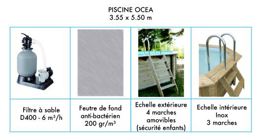 Elements piscine 3.55 x 5.50 m