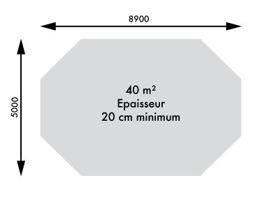 Dimensions piscine 4.70 x 8.60 m