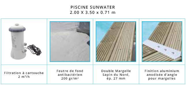 Eléments de la piscine bois 2.00 x 3.50 x 0.71 m