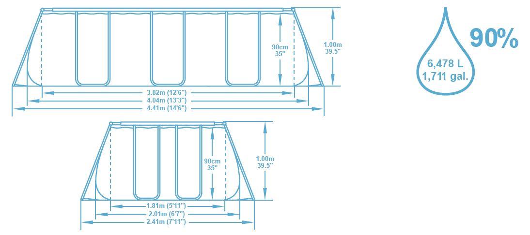 Dimension piscine 4,04x2,01x1,00 m