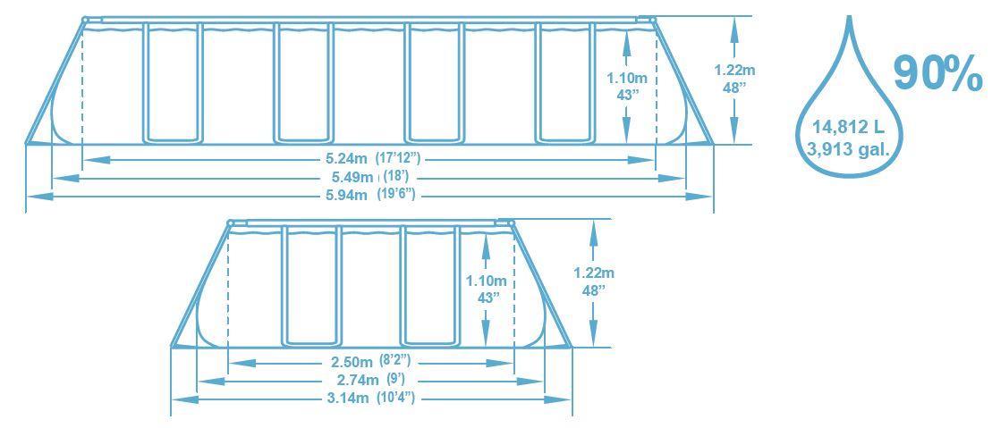 Dimension piscine 5,59x2,74x1,22 m