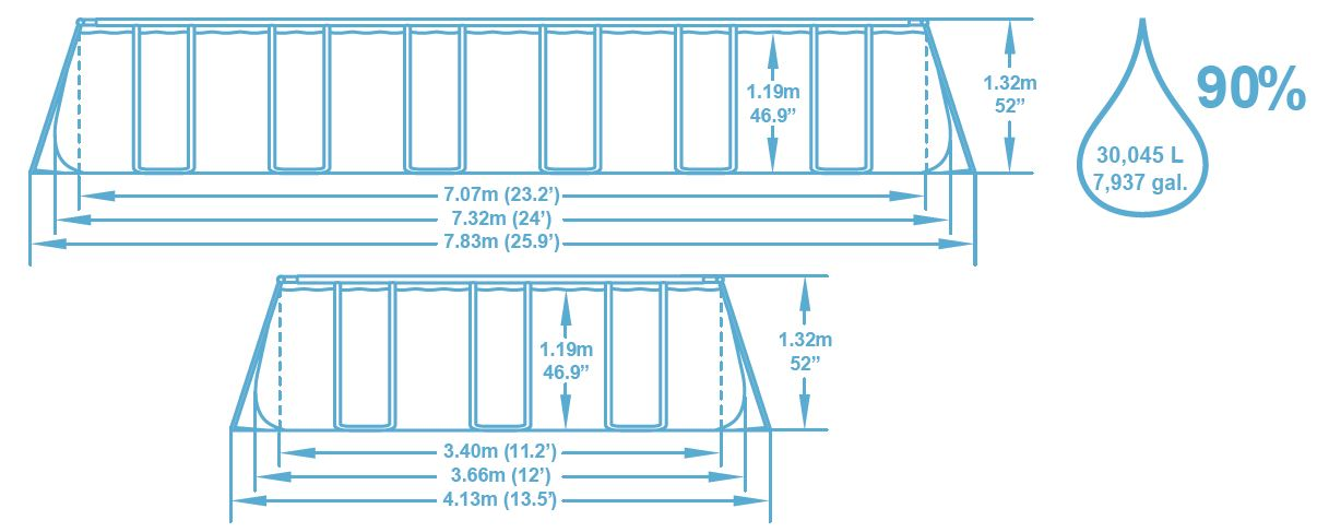 Dimension piscine 7,32x3,66x1,32