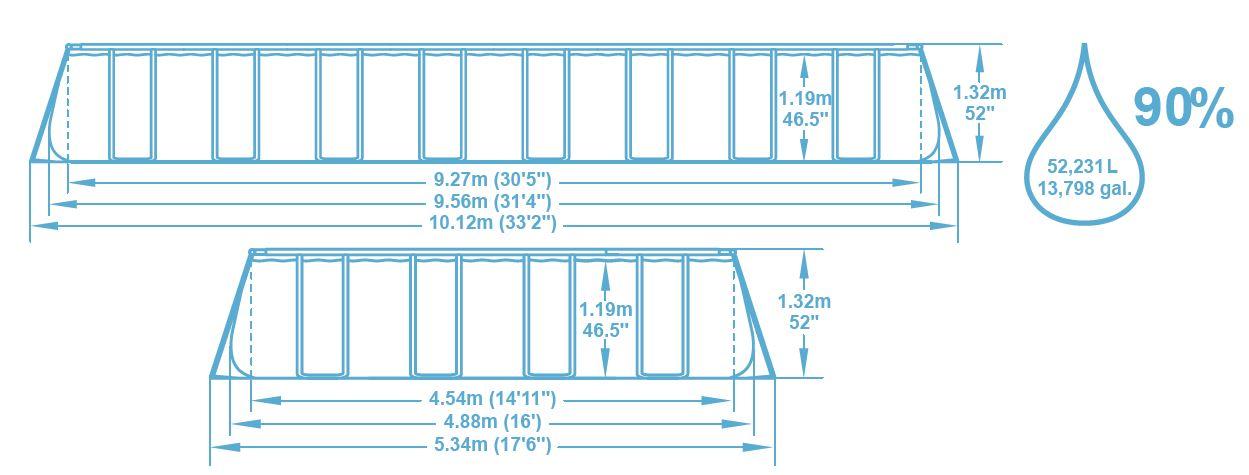 Dimension piscine 956x488x132 m