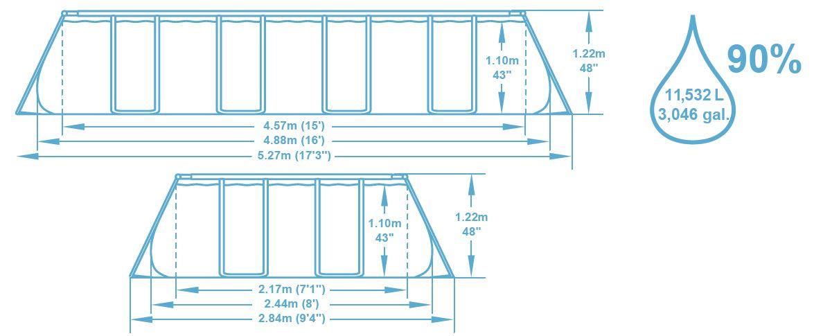 Dimension piscine 4.88x2.44x1.22 m
