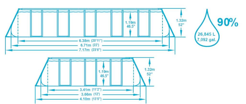 Dimension piscine 6,71x3,66x1,32 m